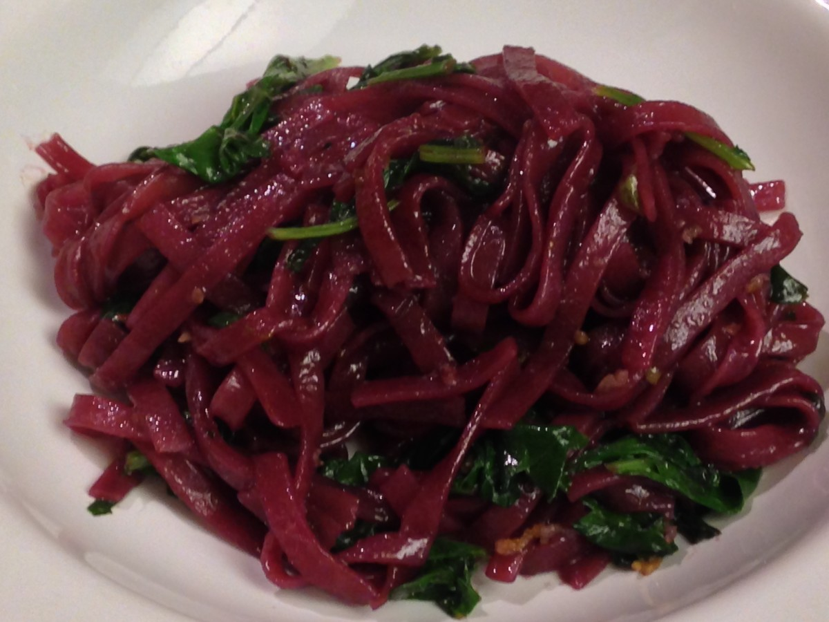 Red wine pho with sauteed kale