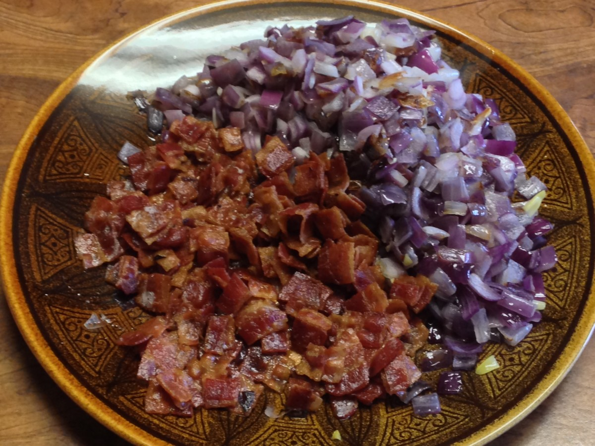 Saute bacon and onions