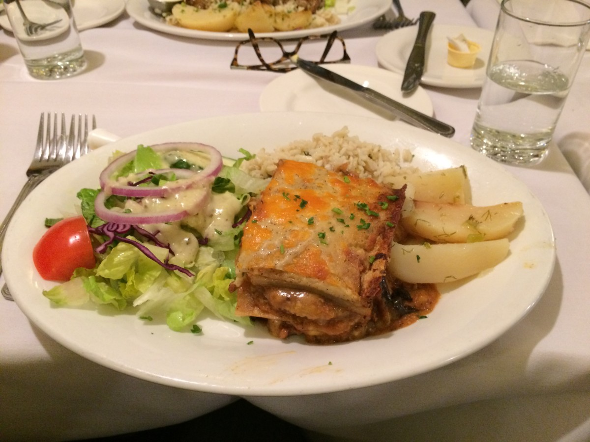 Moussaka Served With Salad, Rice and Potatoes