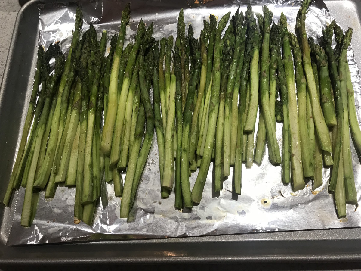 Shaved asparagus spears after cooking.