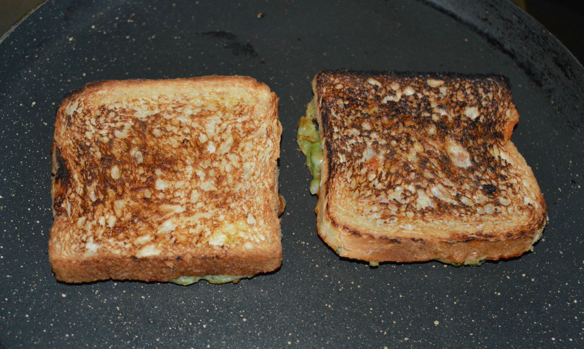 The unbattered side after toasting.
