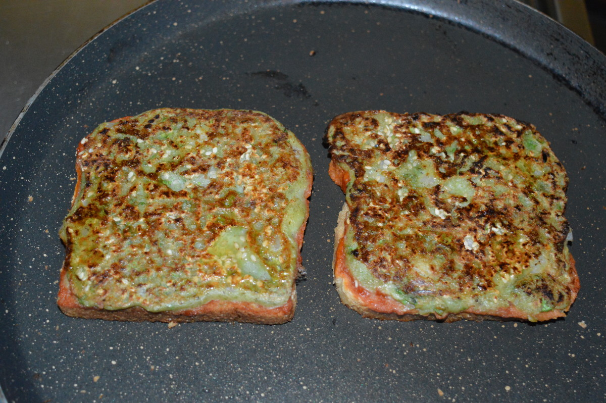The cheese mung bean toast is complete!