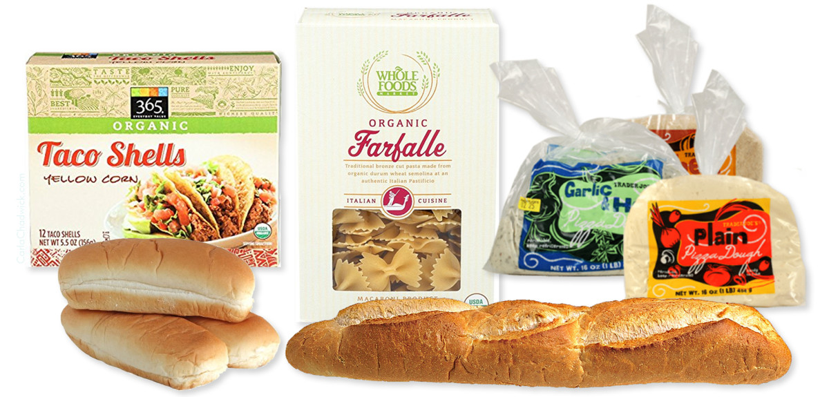 Taco shells, pasta, and baguettes are a few great starches to keep on hand.
