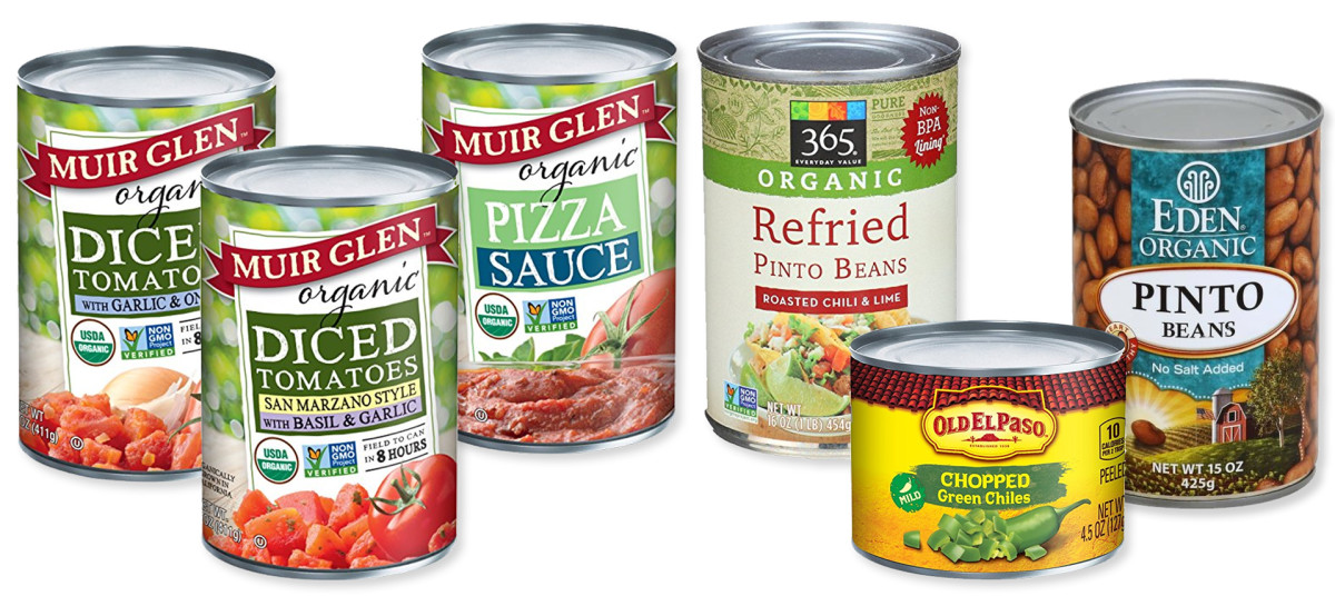 Beans, tomatoes, and pizza sauce are all recommended canned goods.