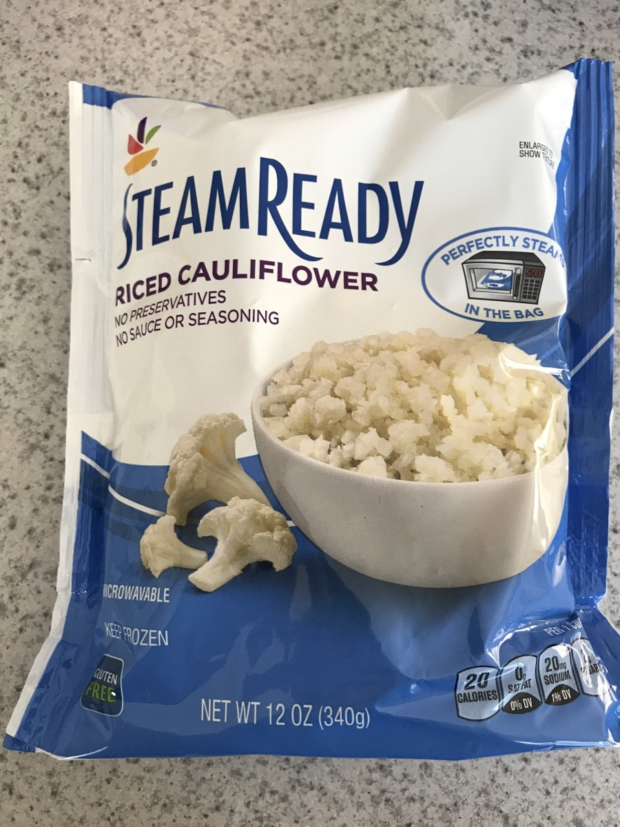 This is what frozen cauliflower rice looks like. It steams right in the bag!