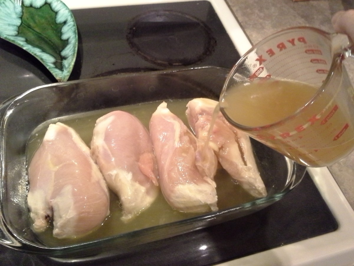 Step Three: Place your chicken breasts in your casserole dish and top with your chicken broth