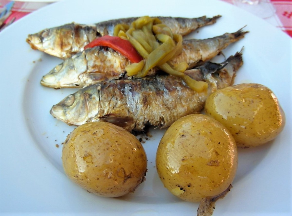 Sardines and potatoes.