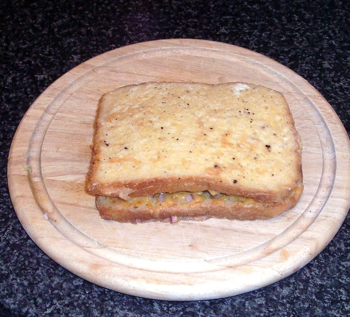 Second slice of eggy bread tops sandwich