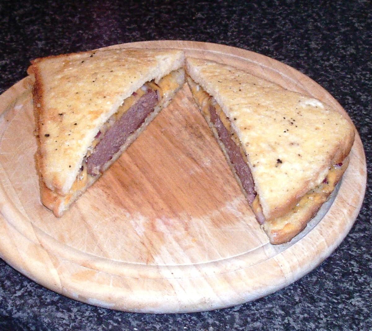 Belgian blue beef eggy bread sandwich is halved