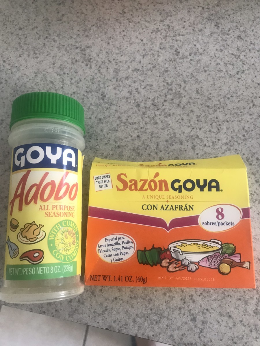 Staples for Spanish-style cooking: Adobo (with cumin) and Sazon (with saffron).