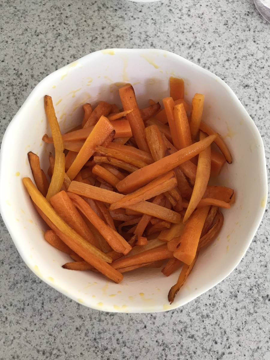 Julienned carrots cook much faster than regular sliced carrots.