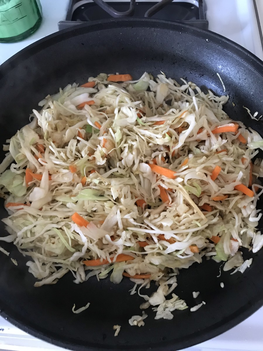 We sautéed coleslaw mix to save time.