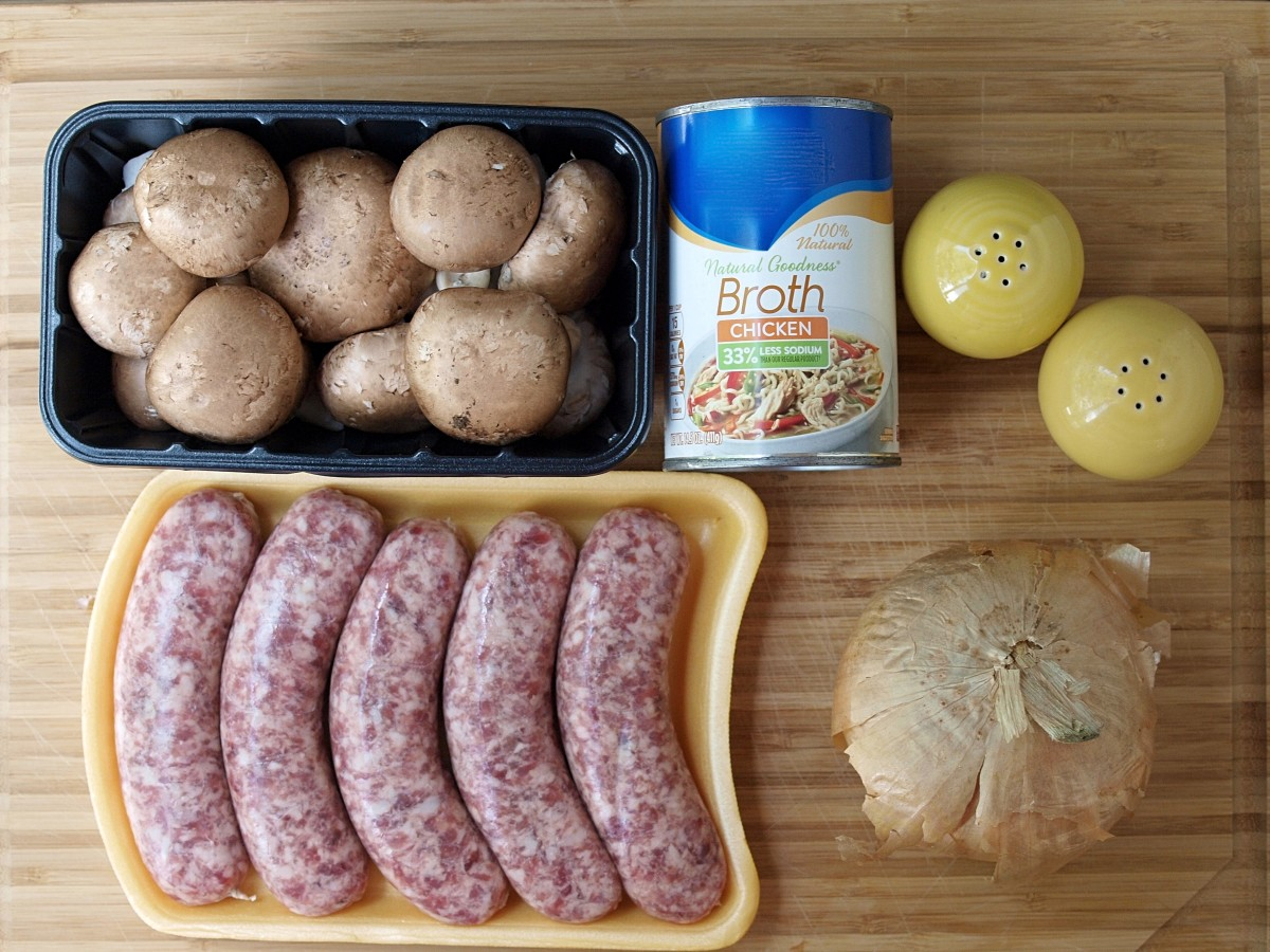 Ingredients for the German bratwurst meatballs.