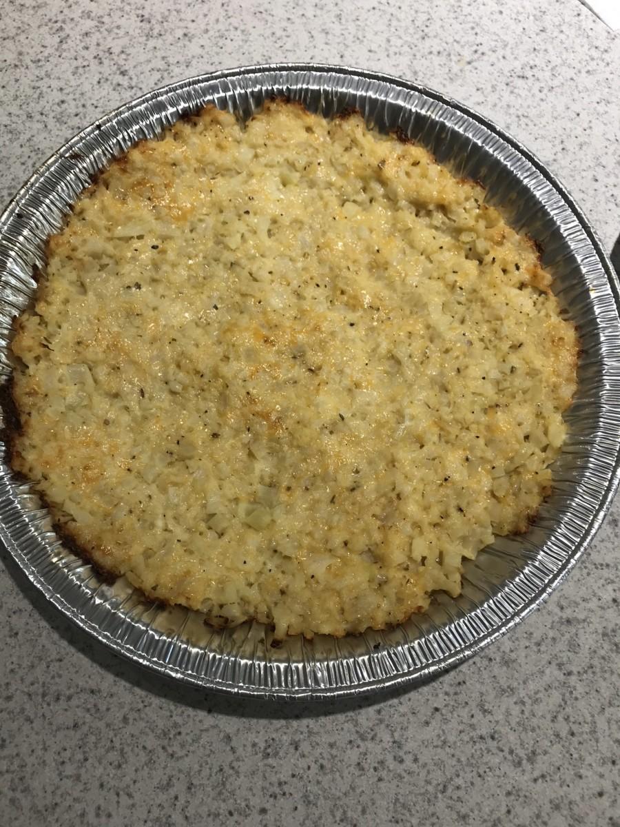 Cauliflower crust after baking.
