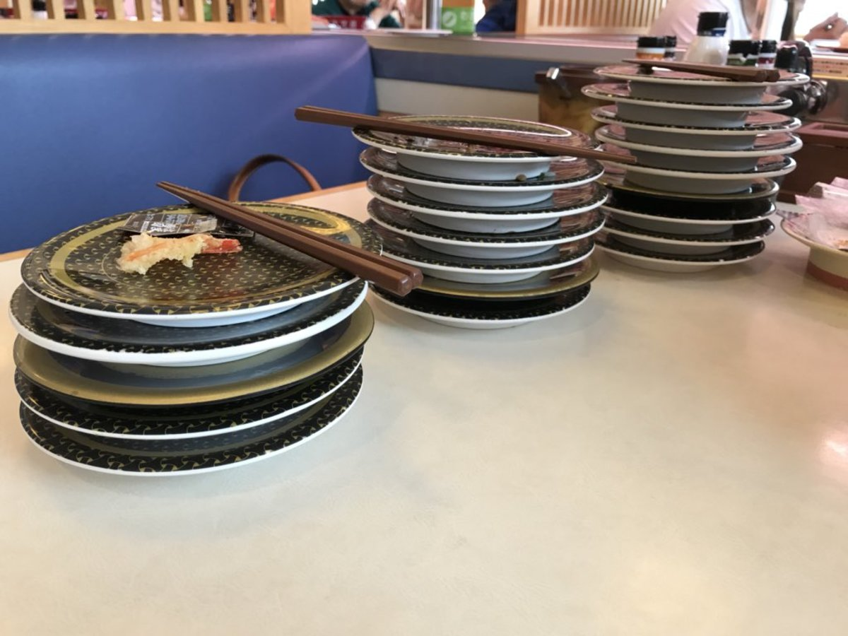 Stacking the plates helps the staff calculate the cost of your meal.