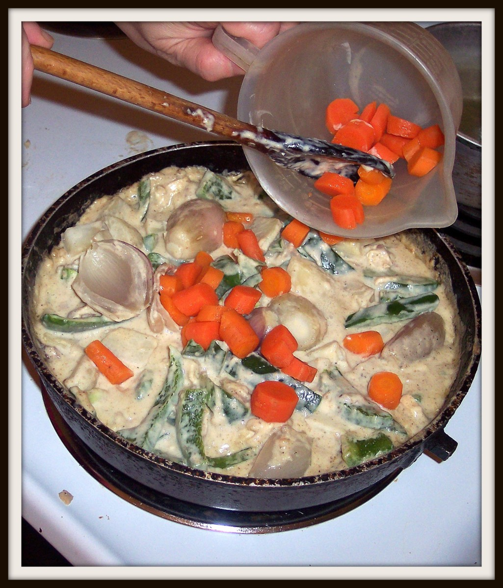 Starting with the chicken, followed by the veggies, stir in the filling.