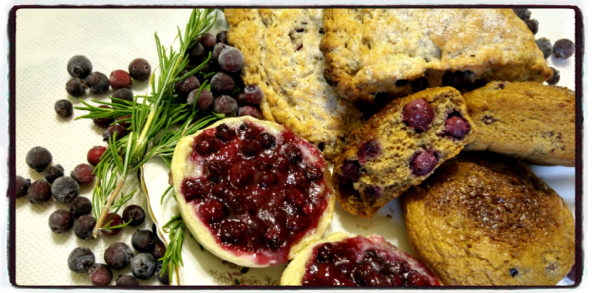 Tasty, Healthy Rustic Tea Spread-- Saskatoon Berry Butter Tarts, Saskatoon-Rosemary Scones, and Saskatoon-Oatmeal Muffins