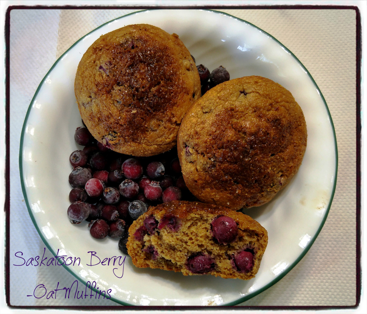 Saskatoon Berry Oat Muffins (Oil Free and Gluten-Free)