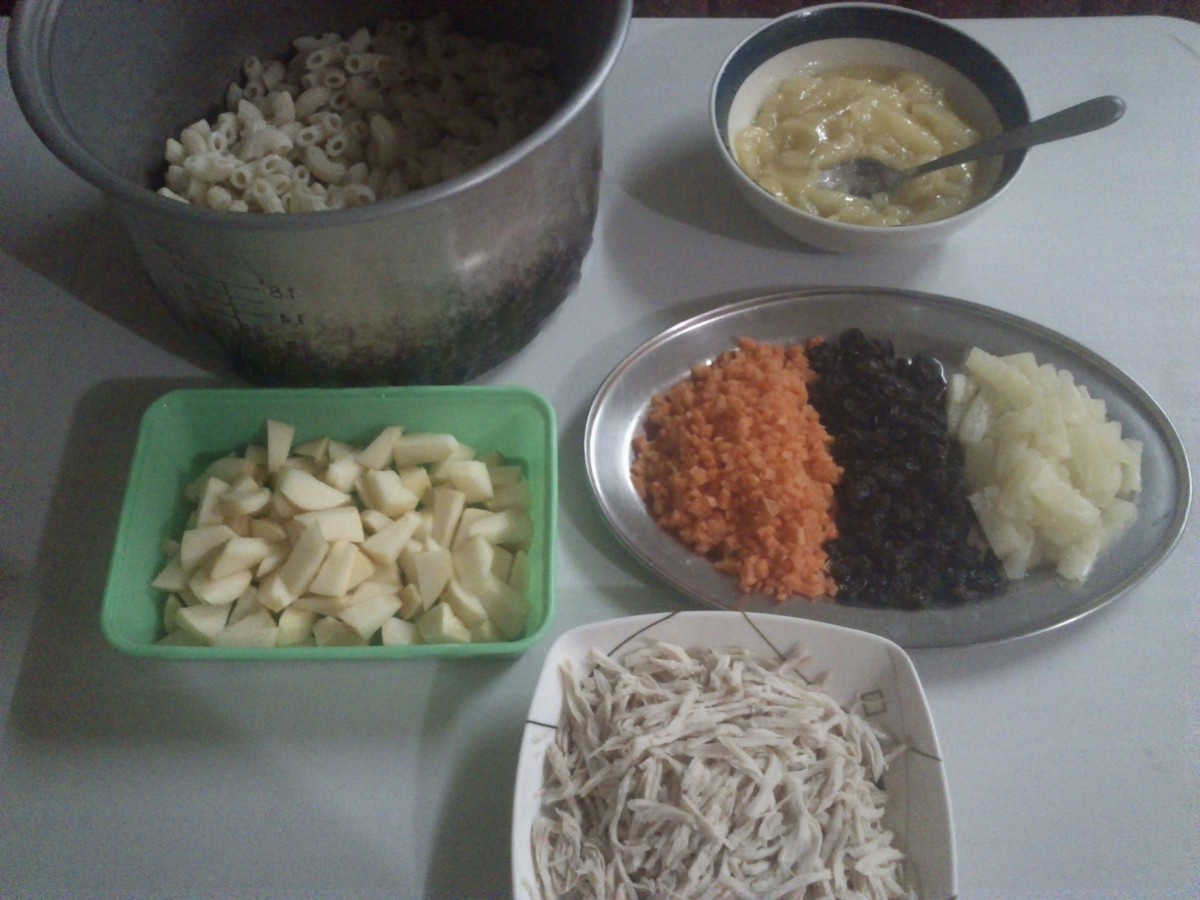 Ingredients for the Sweet Chicken Macaroni Salad