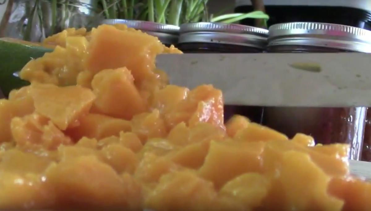 One diced, juicy mango half!