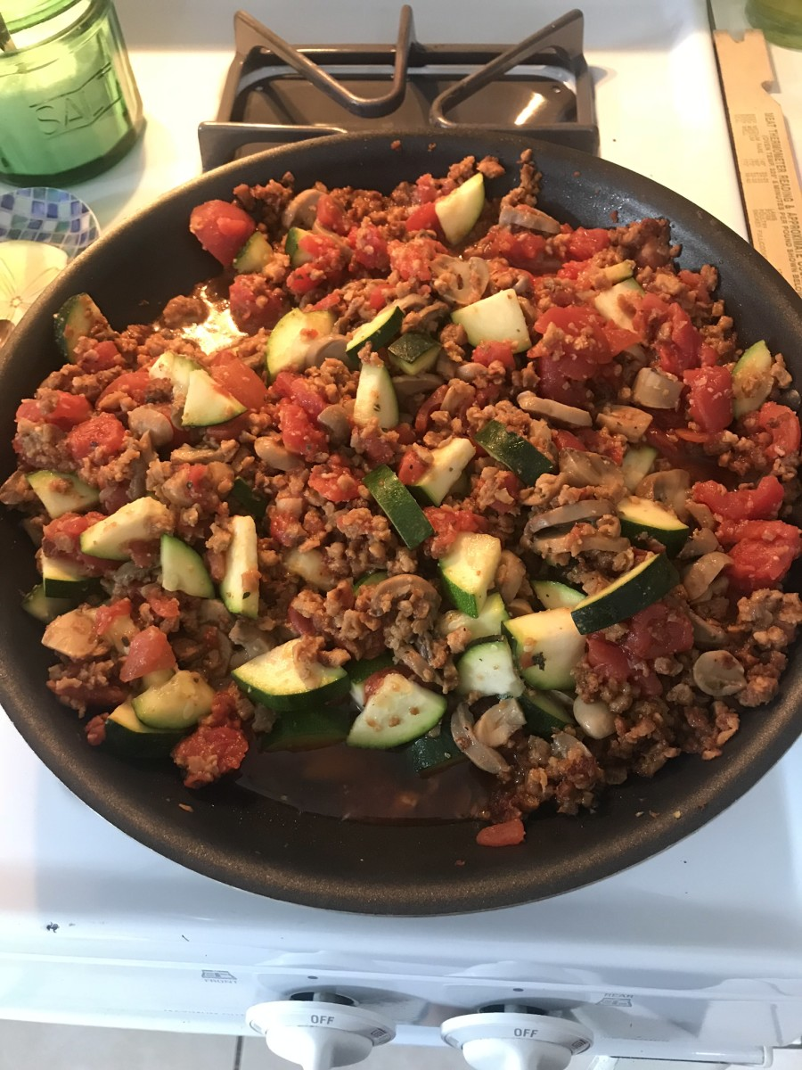 Almost done—the Gardein and veggies before placing it over the pasta and topping with cheese.