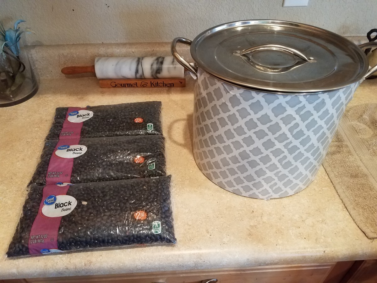 Start with dry black beans and a very large stock pot. I get my beans in bulk from Walmart.