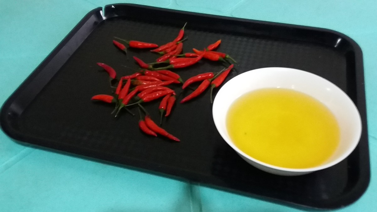 Fresh chilies and garlic oil