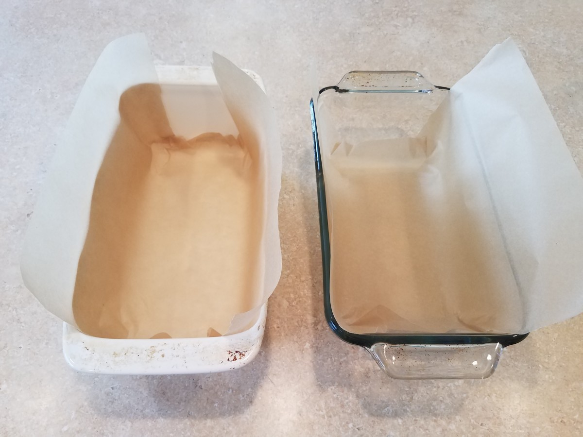 In the meantime, line two loaf pans with parchment paper for each removal and cutting.