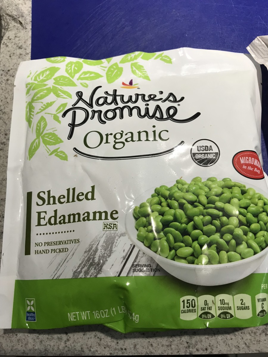 Edamame in a microwaveable steamer bag.