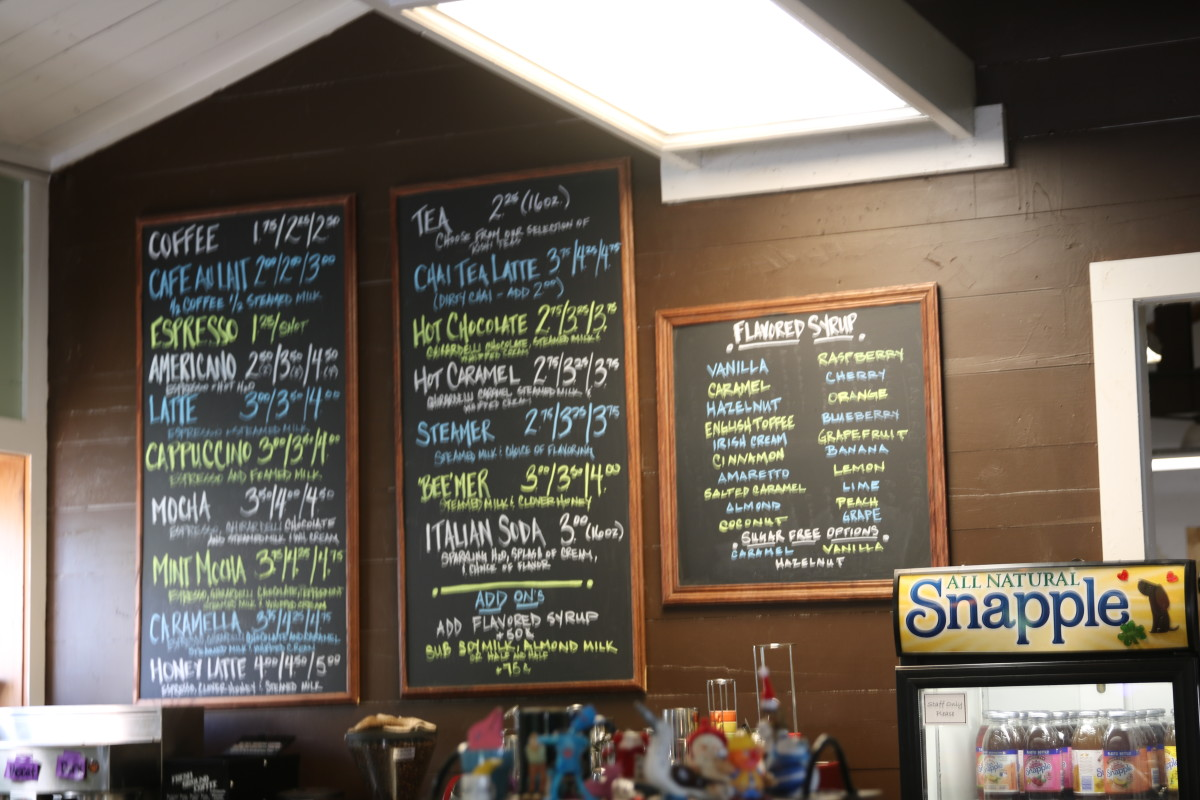 Brew Coffeehouse's chalkboard menu