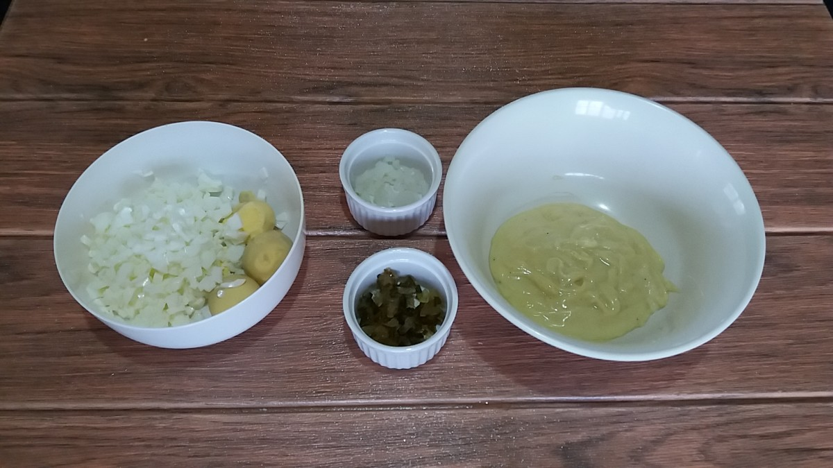 Boiled eggs, Sweet Pickles, White Onion and Mayonnaise