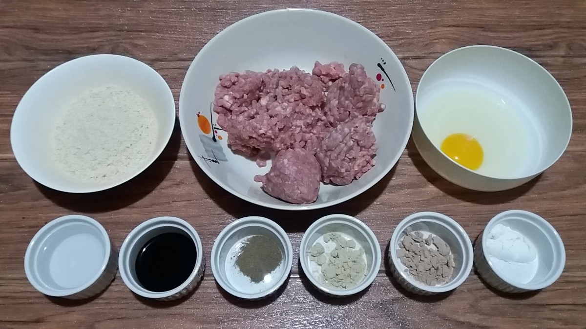 INgredients in Making Pork Burger Patties with Breadcrumbs