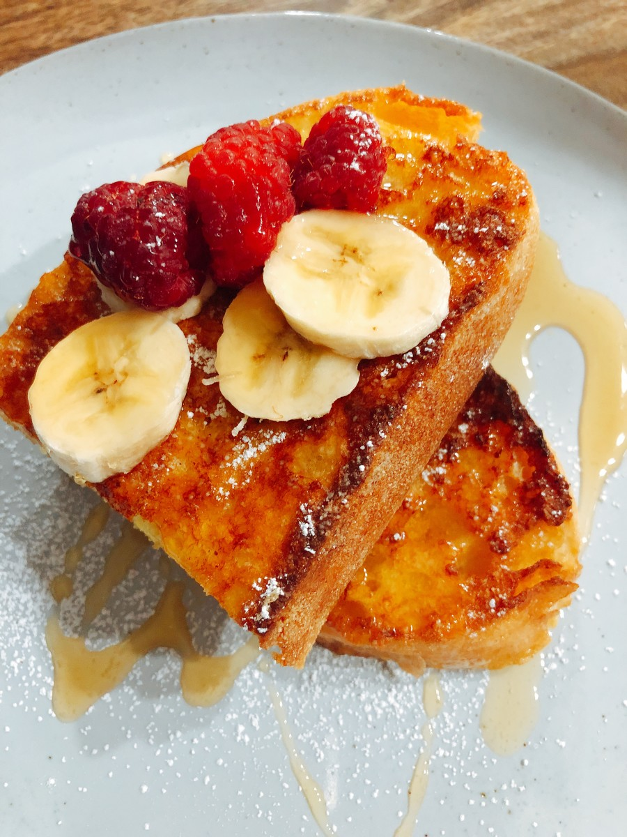 French toast is not complete without sweet and yummy maple syrup.