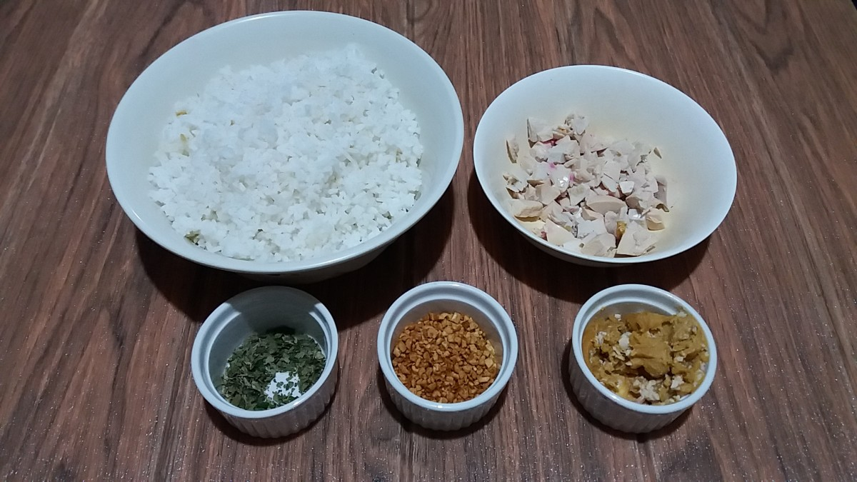 Ingredients for Salted Duck Egg Fried Rice