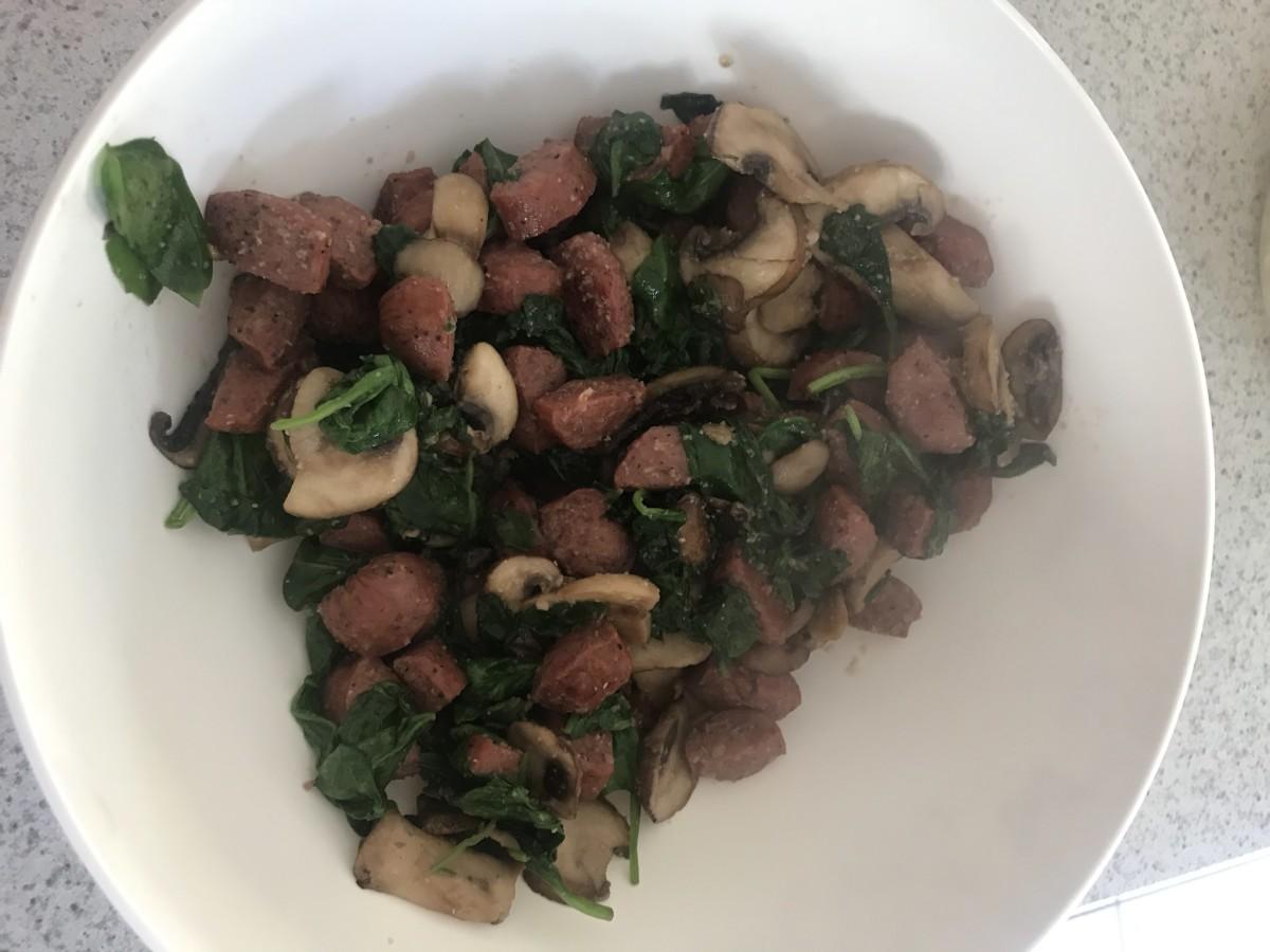 Sautéed sausage, mushrooms, and spinach.