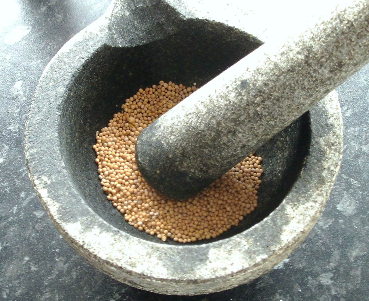 Mustard seeds are lightly crushed