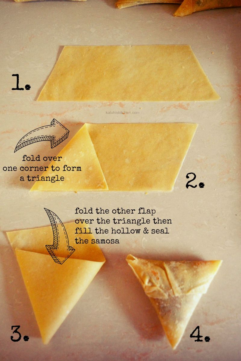 The way of making samosa pockets. Use flour mixture to hold the sides together.