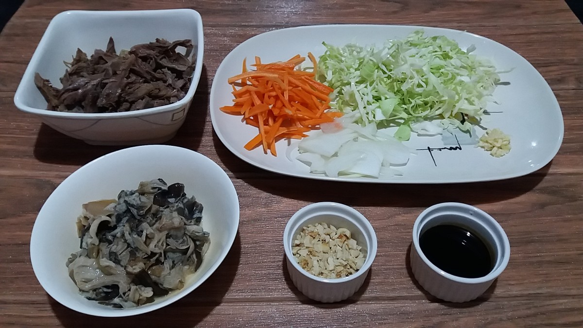 Ingredient for duck and vegetable stir fry with kecap manis