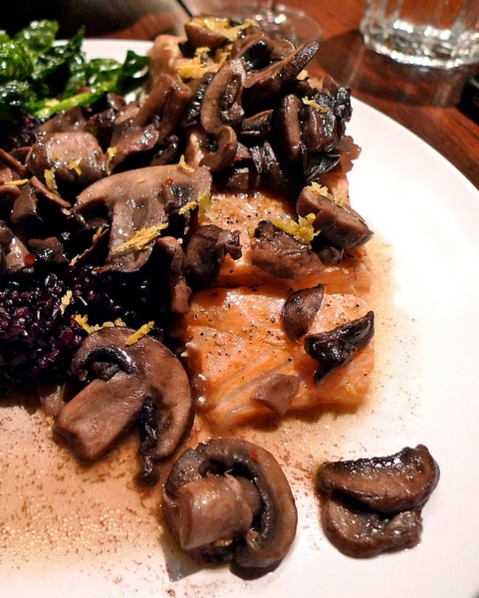 Salmon With Wild Mushrooms and Berries