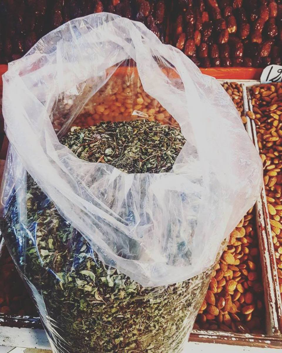 Za'atar is a common spice in most Moroccan shops.
