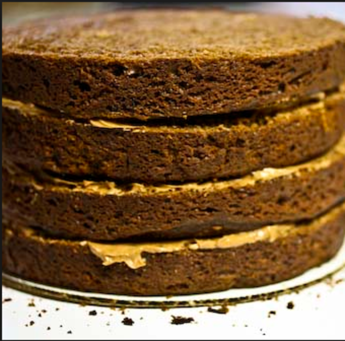 This is a cake on a cardboard round. If you were going to use this cake for stacking, after you frost it you would need to cut down the board to be the exact same size as the cake.