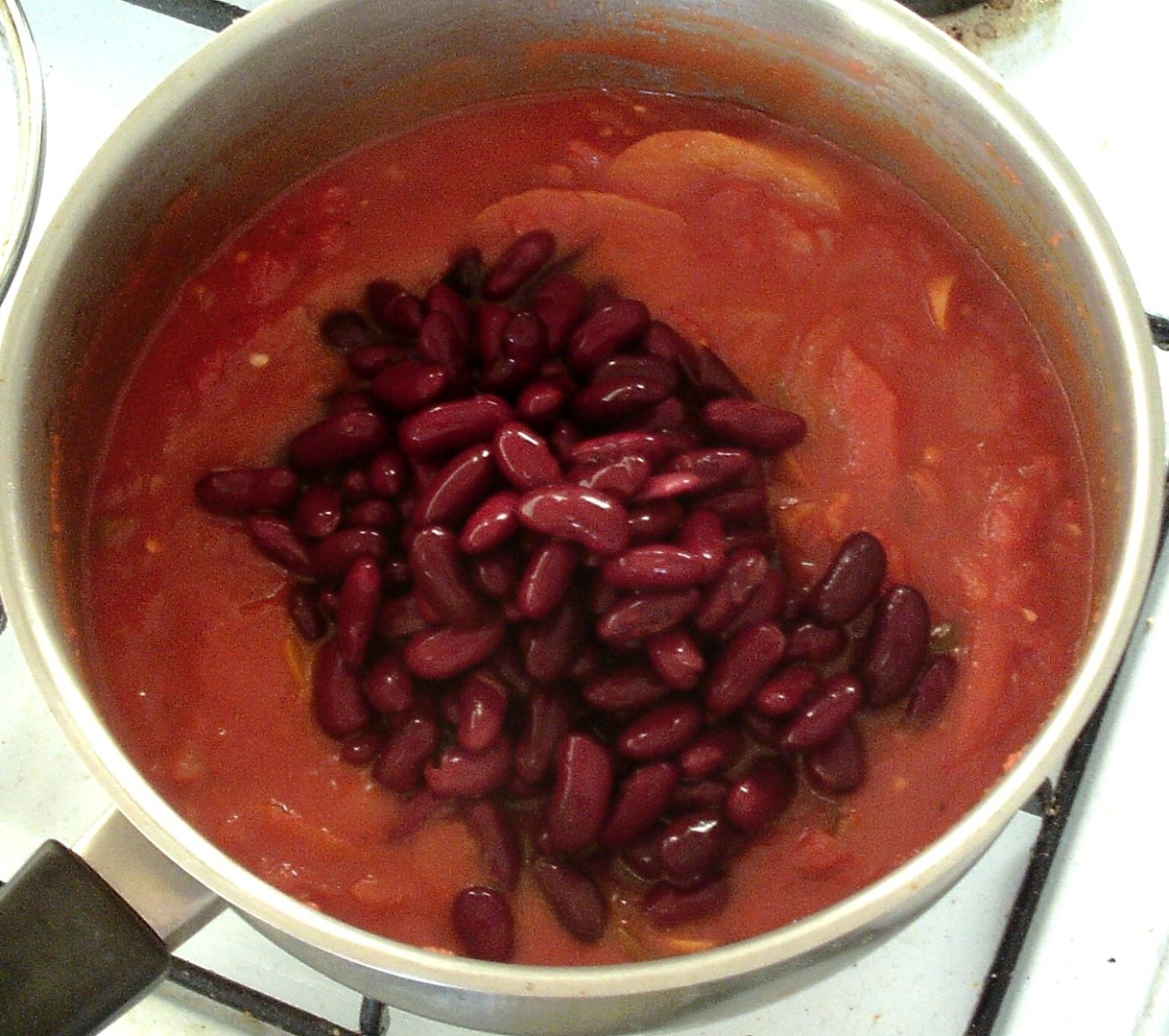 Kidney beans are added to chilli