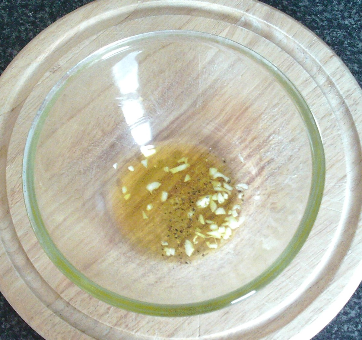 Seasoned olive oil for salad