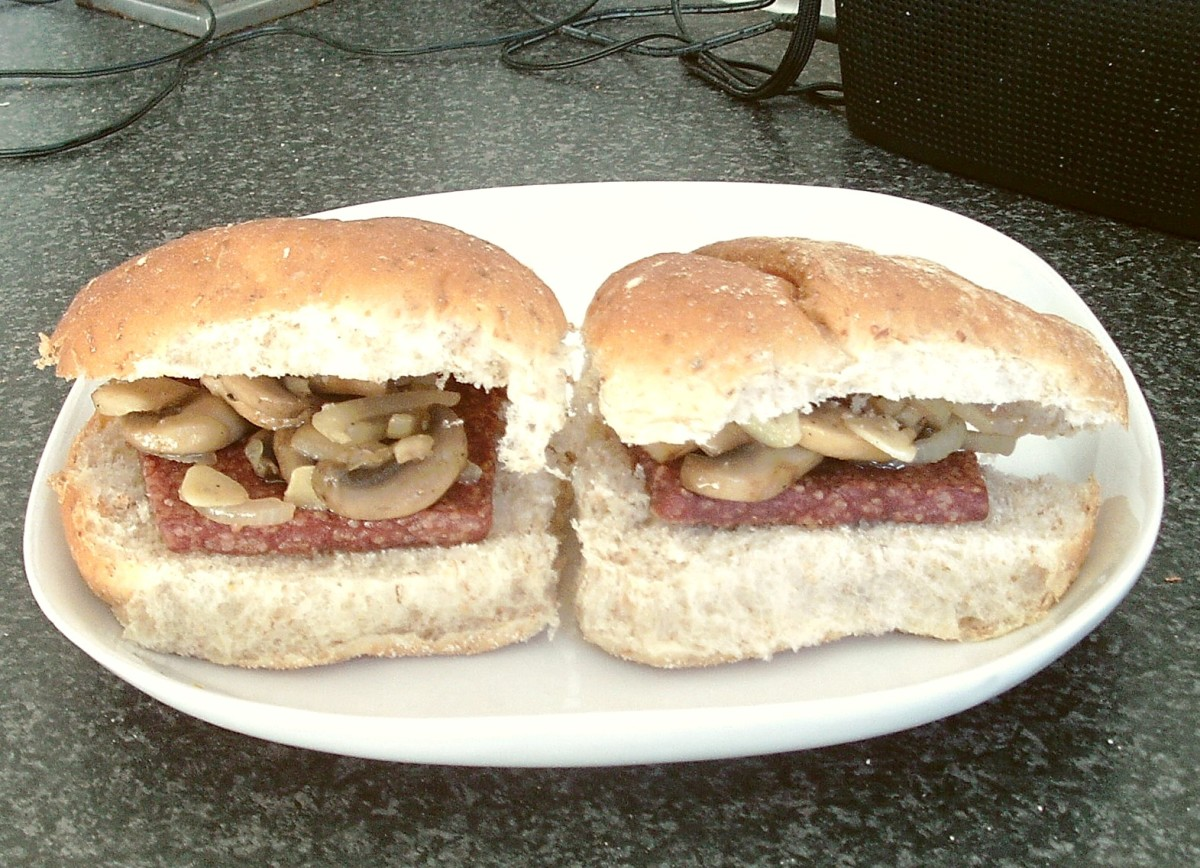 Scottish sliced sausages on rolls with garlic and onion mushrooms