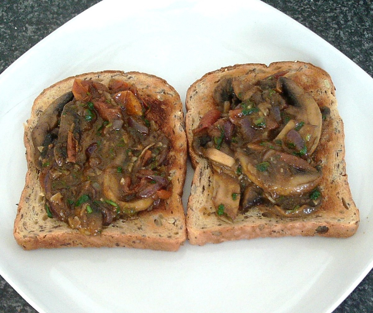 Curried garlic mushrooms are spooned on to hot toast
