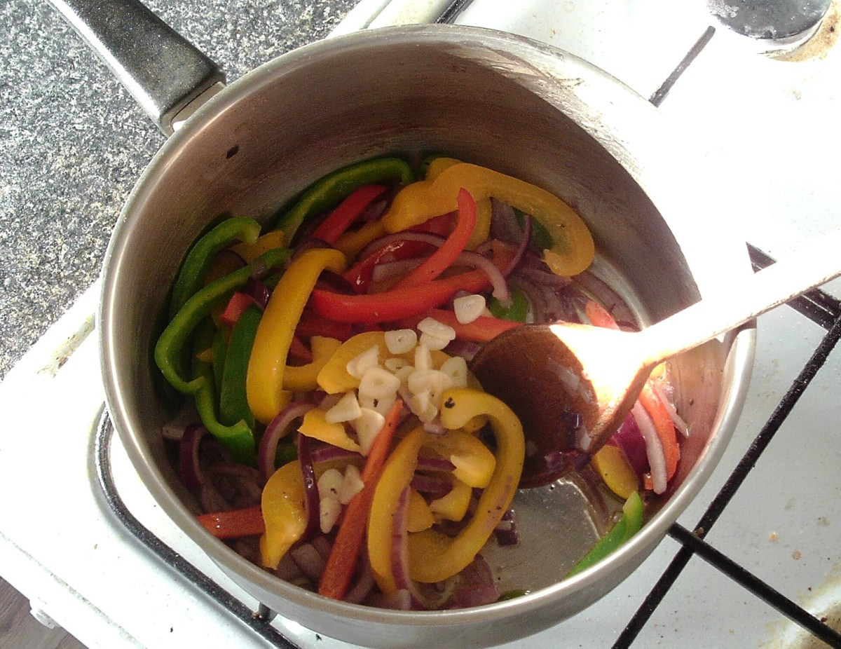 Vegetables for chilli are gently sauteed