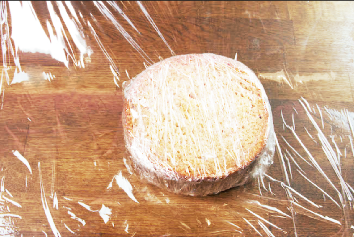 Wrap the cake in cling wrap twice. Seal it as best you can.