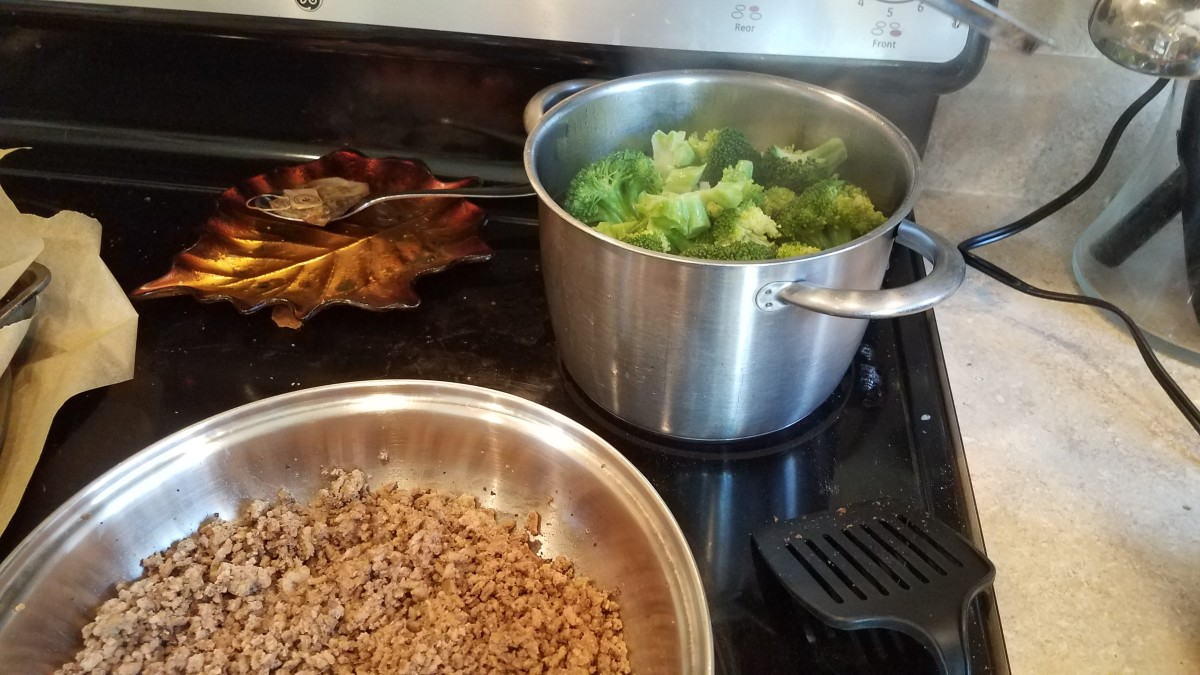 I went ahead and chopped and steamed my broccoli at the same time. These should both take about 20 minutes to cook.