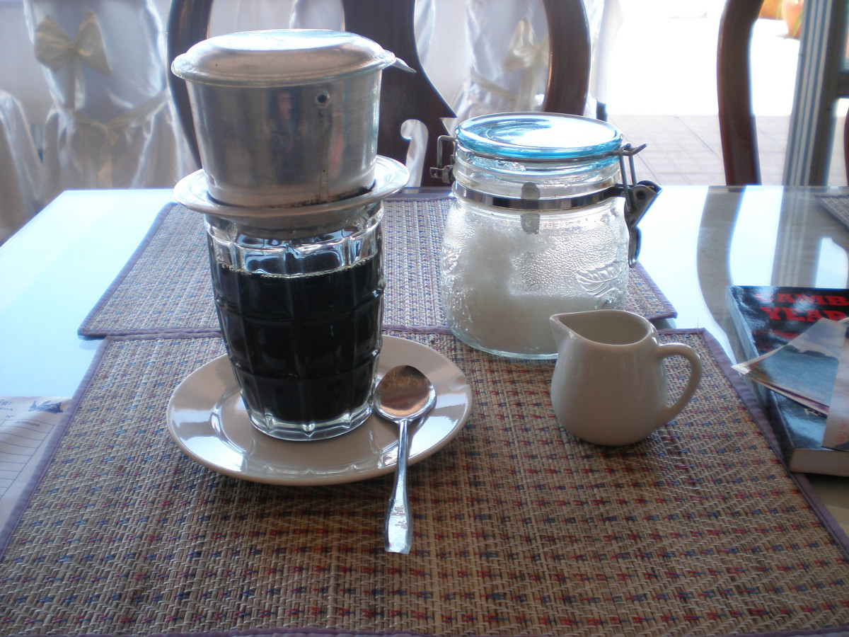 A strong cup of coffee in Cambodia.