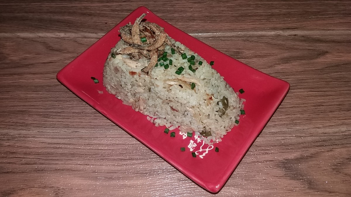 tuna lemon capers fried rice with fried onions on top